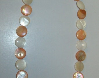 Orange and white Mother of Pearl necklace