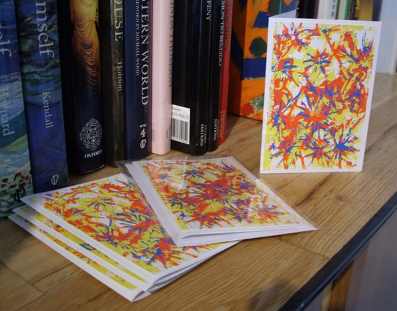 Pack of 5. Yellow, red and blue spiky flowers. Lino printed, blank greetings card