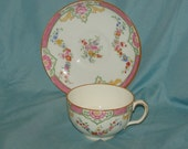 Vintage Minton Hand Painted Porcelain or China Teacup and Saucer Pattern B412 Rich And Fisher NY Pre 1940