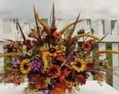 Cemetery Grave Headstone Silk Flowers Arrangments
