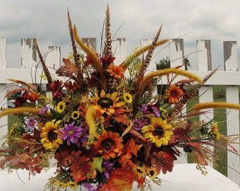 Autumn Fathers Day Summer Fall Cemetery Grave Decorations  Headstone Flowers Arrangement Customize your Floral Wildflower Tuscan Victorian