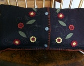 Upcycled Recycled Wool Felt Pillow With Flowers Penny Rug Style