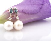 Diamond and Pearl Earrings. White Gold Earrings with Natural Zirkons, Diamonds and Freshwater Pearls. Bridal earrings. June birthstone.