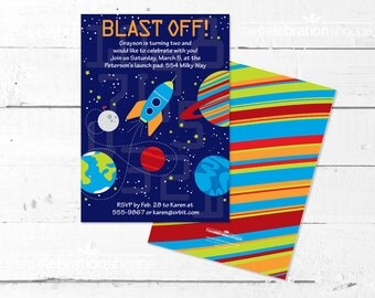 SPACE Birthday Party PRINTABLE INVITATION - The Celebration Shoppe