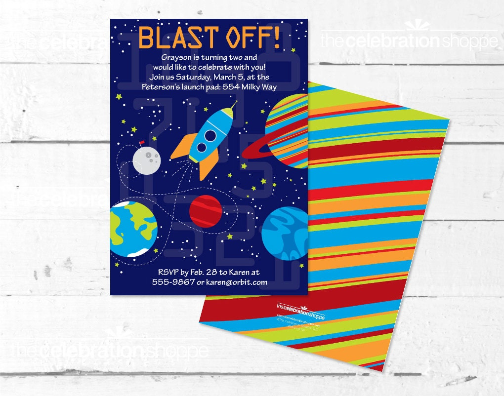 SPACE Birthday Party PRINTABLE INVITATION The Celebration