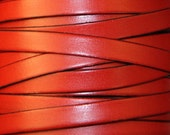 Red cowhide leather strap 10 mm wide - Cuir vachette 10 mm rouge