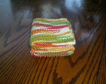 Multi Color/Green, Red, Yellow and White Knit Dish Cloths Set of 2