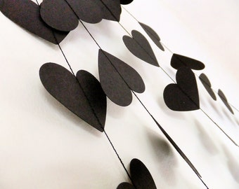 Rock & Roll Black Hearts Paper Wedding Garland - 40ft Length