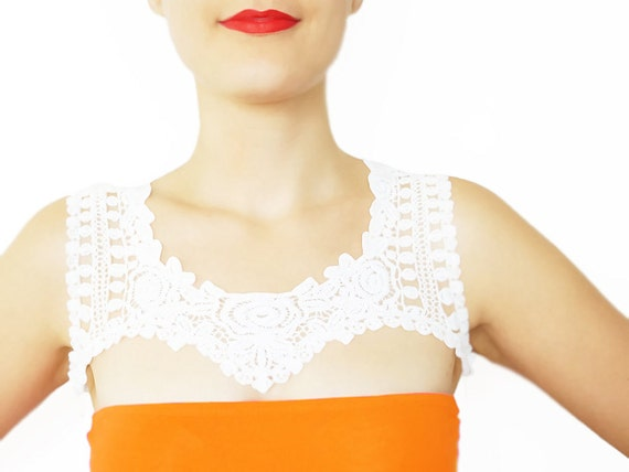 Nylia //  Handmade Ivory Crochet Cotton Lace Collar Applique Chain Harness Blouse Accessories Bib Necklace  Cyber Monday