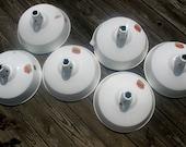 Vintage White Porcelain Enamel Industrial Warehouse Abolite Lighting Fixtures (Six)