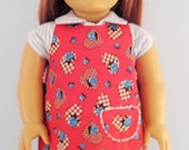 American Girl Apron, Red Valentine Hearts and Blue Roses
