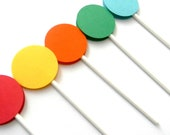 12 Bright Lollipop Cupcake Toppers