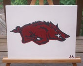 Arkansas Razorback white backround Hog 11 x 14 Painting
