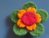 green orange and red flower felt pin - badge