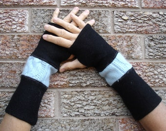 Fingerless gloves, arm warmers,  made from blended wool light blue cable knit and felted black wool sweaters