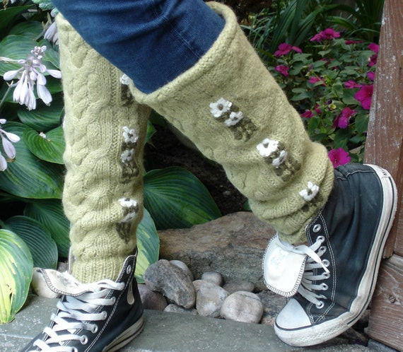 Thick green leg warmers made from a recycled 100% Lambswool Sweater