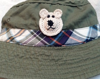 Boys Baby Infant Toddler Fishing Bucket Hat - Handmade Teddybear Face -  Olive Green with Plaid Trim - Sizes 18-24 months, 3T-4T, 4-6 Years