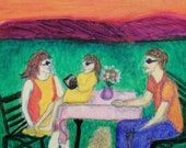ACEO Original oil Family time impressionism man woman child book dog picnicking summer