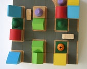 Classic06 - Cityscape Wooden Building Blocks - Handmade Green Toy