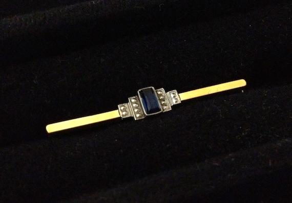 Vintage 1930s Art Deco Bar Brooch Costume Jewelry Piece
