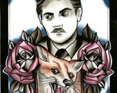 Gent With Antlers & taxidermy fox With Roses PRINT Tattoo art ink painting print