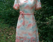 Soft and Summery...Vintage 1960s French Seaside Print Hem Scooter Summer Dress with matching belt Sz M