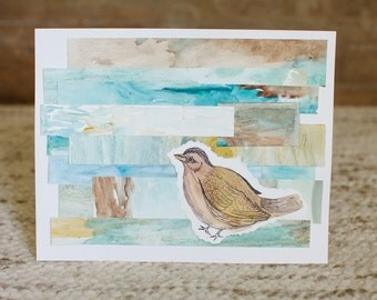 Joyful Bird Layered Watercolor Collage