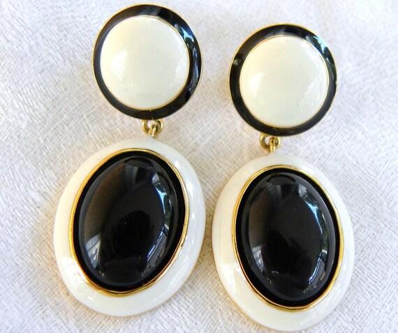 Joan Rivers Classic Black & White Drop Earrings - Ten Dollars