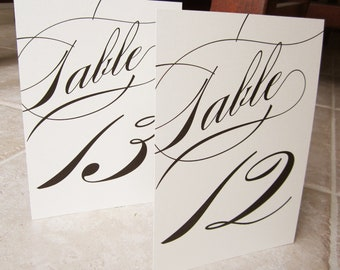 Table Numbers 1 - 20 Formal Script Classic
