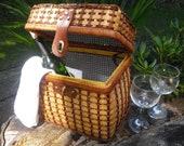 Vintage Wicker  Picnic Basket - Cottage Chic