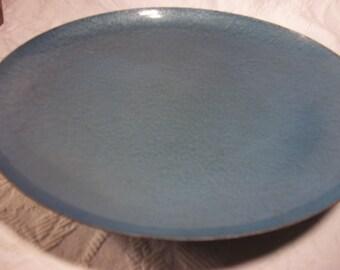 Vintage Blue Hammered Metal Tray, Metal Ring