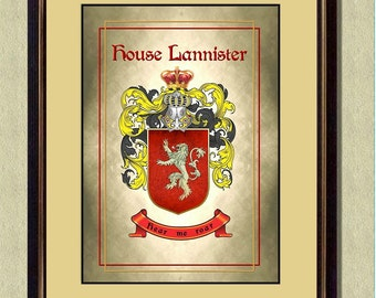 HOUSE LANNISTER Coat of Arms - Game of Thrones -  Poster art print  - Quote art print -