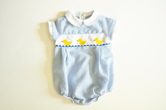 Vintage Boy or Girl Baby Stripe Romper with Duck Pattern 6 Mos