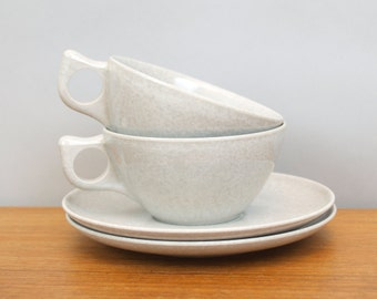 Vintage Light Grey Melmac: 2 Cups and Saucers