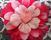 Little Girl Hair Accessory-Small Pink Flower Embellished With A Pink Heart