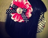 Zombie Pin Up Girl Pink Flower Hair Clip