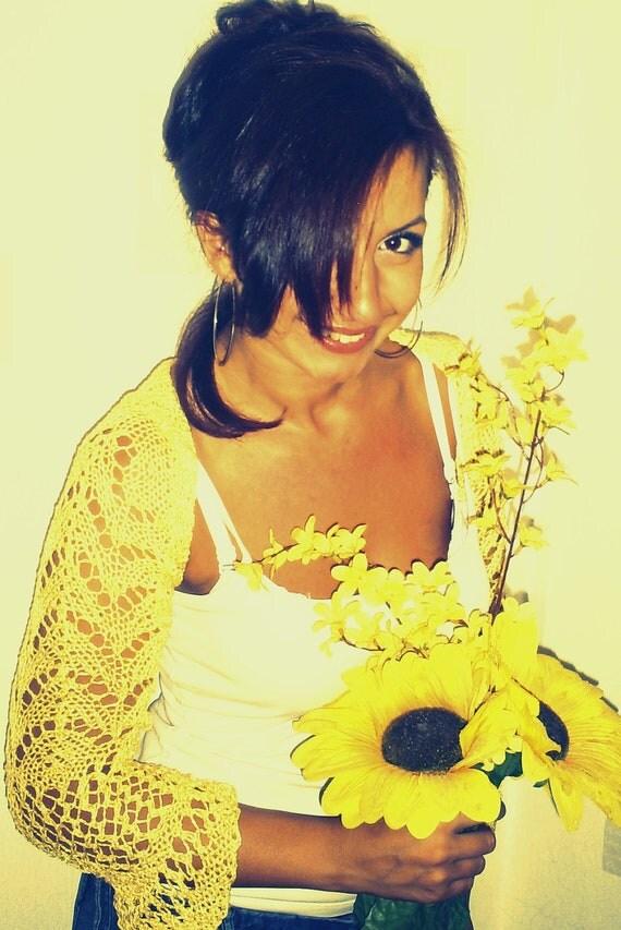 Knitted bolero, shoulders, arms, hand knitting, vest, yellow bolero, cotton, viscose bolero summer
