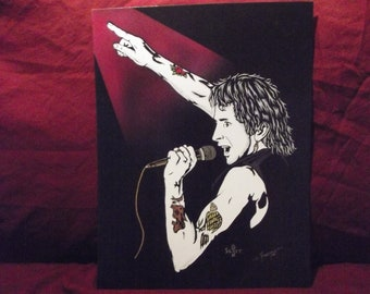 """AC/DC in Art with Bon Scott is a Limited Edition, 10""""x13"""", numbered Print of the Original Painting by Artist Charles Freeman"""