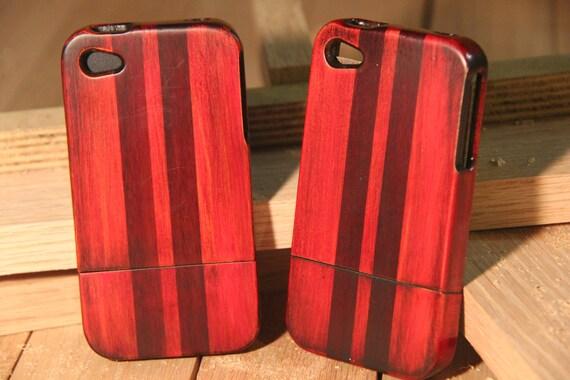iPhone 4 / 4s wood case -  custom red finish