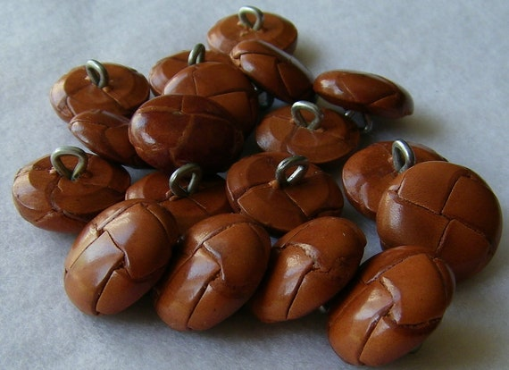 Vintage Woven Leather Shank Buttons 20 Large Size