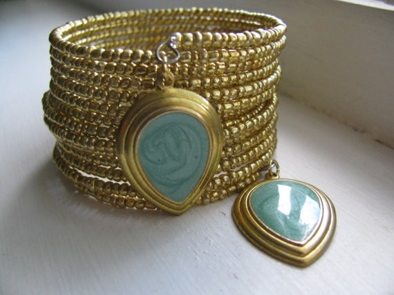 Gold Beaded Cuff Bracelet with Upcycled Green Charms, Eco-Friendly Jewelry, Statement Piece, OOAK, Mint Green and Gold