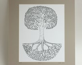 """Pen and Ink Drawing """"Beech"""", matted print, 11x14, tree of life"""