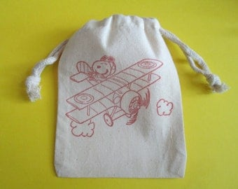 Snoopy Airplane / Set of 10 / Birthday Party Favor Bags