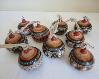 Vintage Barro Brunido Ornaments - Set of 6 - Balls / Christmas Ornaments, Holiday Ornaments