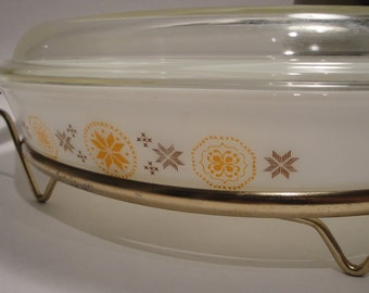 Vintage Pyrex Town & Country Cinderella Oval Divided Serving Dish with Stand