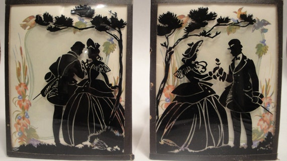 Vintage Silhouette Reverse - Painted on Convex Glass Courting Couple
