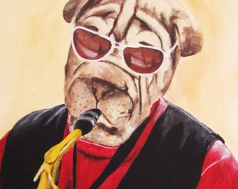 Print Illustration Art Poster Acrylic Painting Kids Decor Drawing Gift : Saxophonist Shar Pei
