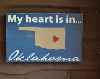 Custom Wood Sign, Typography Word Art - My Heart Is In. . . Hand Painted Home Decor