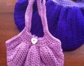 Girl's Lined and Crocheted LILAC Purple Purse