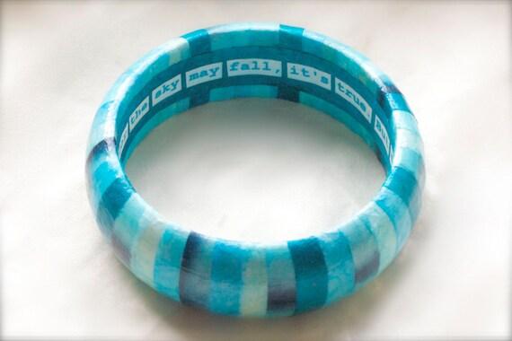 Custom Lettering Sky Blue Decoupage Striped Bangle Bracelet - Free Custom Lettering